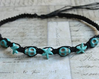 Black Hemp Necklace with Turquoise Blue Starfish And Skulls Ocean Inspired