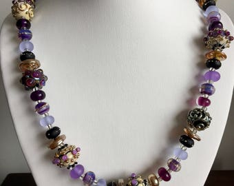 Beautiful purple glass bead necklace