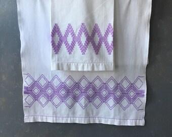 Vintage embroidered huck towel, lavender, set,  dresser scarf, kitchen towel, Guest, tea, runner