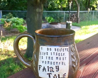 Summer Vacation Sale Large Pottery Mug-Life Itself is the most wonderful fairy tale- Hans Christian Andersen -Brown with Locust Leaves-Handm
