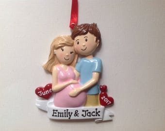 Personalized Christmas Ornament Expecting or Pregnant Couple's  First Christmas - Free Personalization