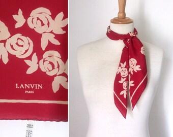 Vintage 1990s LANVIN red rose-print silk scarf / designer floral solk square scarf - made in France
