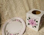 Tammye's Custom Ordered Hand Painted Pink Rose Victorian Cottage Chic Metal Tray and Wooden Tissue Box