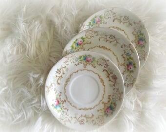 Vintage Floral Saucers, Set of 3, Shabby Rose Plates, Vintage Wedding, Konga China STS Japan