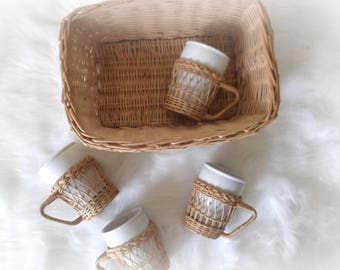 Wicker Cup Holders and Storage Basket, Boho Decor, Ironstone Cups, Rattan Coffee Cup Holders, Bar Cart Decor