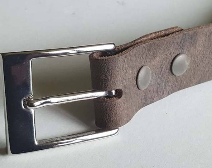 """Fawn Brown Leather Belt w/ Snaps, Belt Keeper & Buckle  ~  1-1/2"""" wide Belt for Jean ~ 1-1/4"""" wide Belt for Suit ~  Will Custom Cut for You"""