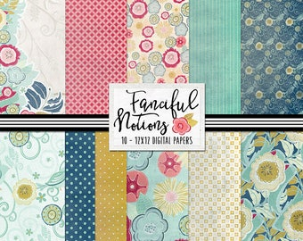 Patterned Papers (Fanciful Notions)  Digital Backgrounds - Feminine, Floral, Birds, Teal and  Yellow