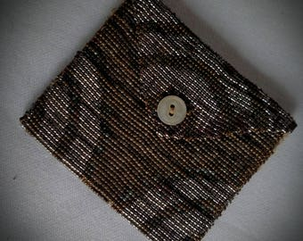 Vintage Antique 1920s Art Deco French Steel Beaded Envelope Style Button Closure Small Coin Purse