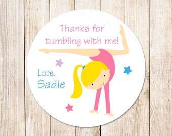 gymnastics favor tags, stickers . personalized tags . gift tags, labels . gymnast choices . tumbling birthday . set of 12