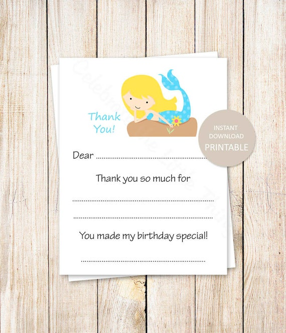 printable mermaid thank you cards fill in the blank birthday