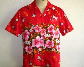 Vintage 60s Ui-Maikai Hawaiian Print Red Cotton Tiki Luau Mens Aloha Shirt XL