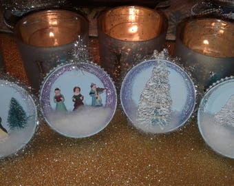 Vintage Style Victorian Mason Jar Lid Christmas Ornaments Set of 4
