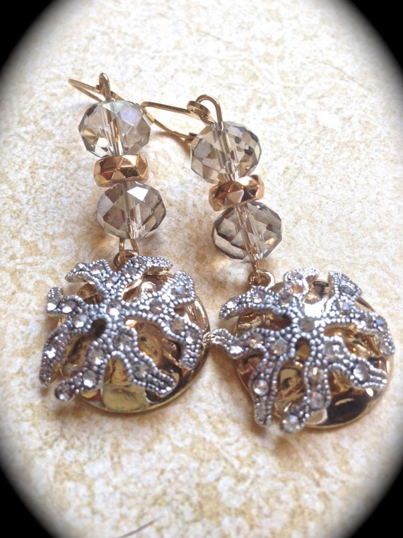 Vintage dangle earrings-Rhinestone Earrings- Beach wedding earrings -Handmade Jewelry-Statement Earrings- Drop Earrings- Starfish earrings