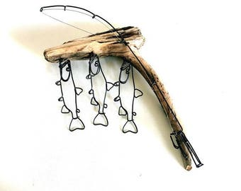 Trout Stringer and Fishing Rod Wire Sculpture, Trout Wire Art, Minimal Wire Sculpture, 537544918