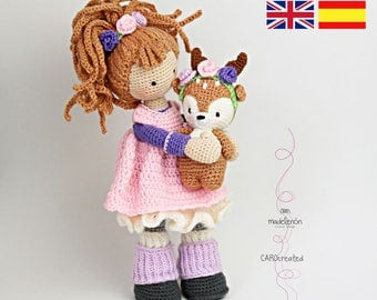 Crochet pattern for doll MIA & deer LAYLA (Deutsch, English,  Español, Nederlands)