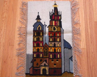 Polish Kilim Traditional Tall Buildings Cathedrals Wall Hanging Tapestry Rug