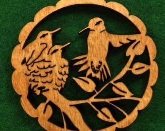 Wood Hummingbirds Ornament