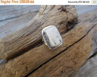 ON SALE White Buffalo turquoise ring handmade in sterling silver 925
