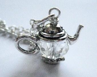 Swarovski Crystal Teapot Pendant Necklace