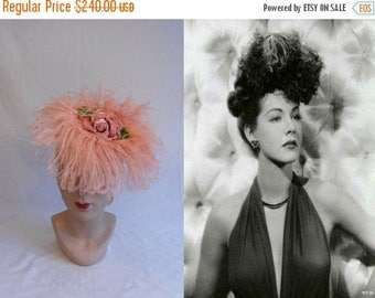 Anniversary Sale 35% Off Maria Montez Bird of Paradise - Vintage 1940s WW2 Gage Pink Ostrich Feathers Tilt Topper Hat w/Roses