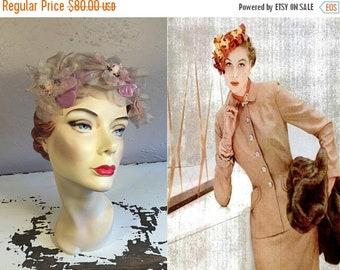 Anniversary Sale 35% Off A Slight Demur Glance - Vintage 1950s Large Lavender Magnolia Chiffon Velvet Floral Open Crown Fascinator Hat