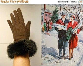 Anniversary Sale 35% Off Home For the Holidays - Vintage 1950s Dark Chocolate Brown Wool Gloves w/Rabbit Fur Cuffs - O/S