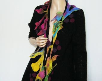 L to XL  Art to Wear Long Jacket