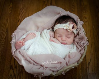 Two Baby Wraps  and Headband Set, Stertch Wrap, Baby Flower Headband, Baby Lace Mauve Wrap, Newborn Props, Baby Props, Baby Headband, Blush