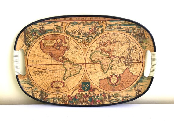 Vintage oval map tray old world map orbis geographica like this item gumiabroncs Image collections