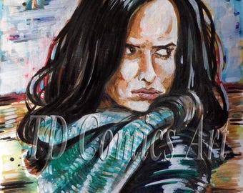 Print of Jessica Jones original watercolors comics art painting marvel art, comics art, marvel prints, The Defenders prints