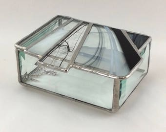 Black, White and Clear Hand Crafted Stained Glass Box