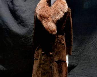 Vintage 70's fur lined suede overcoat coat with FOX FUR collar rocker classic sM by thekaliman