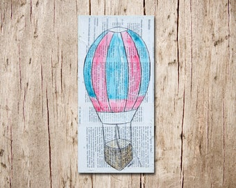 Hot Air Balloon - Original Canvas Illustration Painting - Red and Blue Balloon Mixed Media on French Book Pages - Child's Room - Nursery Art