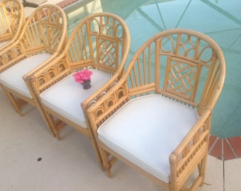 Pair Of BAMBOO BRIGHTON STYLE Arm Chairs / Pair Of Bamboo Chippendale Style  Chairs Cane Seat