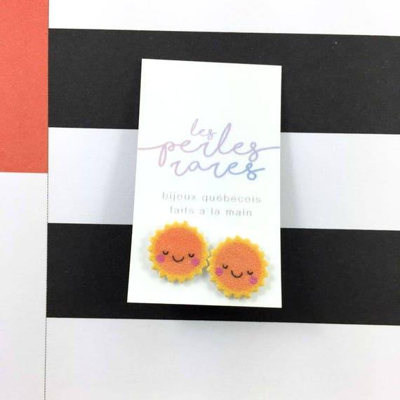 sun, orange sun, smiley sun, stud earring, print on plastic, shrink plastic, stainless stud, handmade, les perles rares