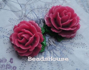 20%off 2pcs (35x40mm) Big Peony Cabochon - Rose
