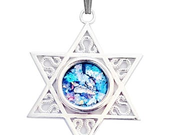 925 silver Star of David Roman Glass pendant Necklace
