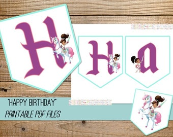Nella the Princess Knight Printable Banner - INSTANT DOWNLOAD