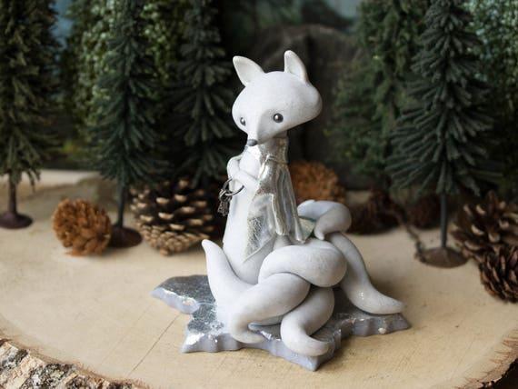 Kitsune Spirit Fox - White Nine-tailed Kitsune  - Winter Kitten Fox