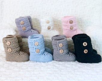 Tall Moccasin Baby Booties Knit Merino Wool Crochet Button Boots Gender Neutral Baby Shower Gift Announcement Box by Warm and Woolly Canada