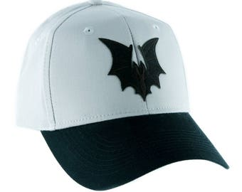 Gothic Vampire Bat On Grey Hat Baseball Cap Alternative Clothing Dracula  - YDS-PA-BLKBAT-Grcap