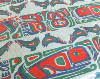Inuit Art Flannel Red, Green, Navy Blue on Heathered Gray Fabric Destash Yard Yardage Cone Mills