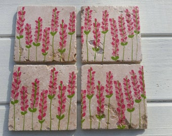 Floral Stone Coaster Set of 4 Tea Coffee Beer Coasters