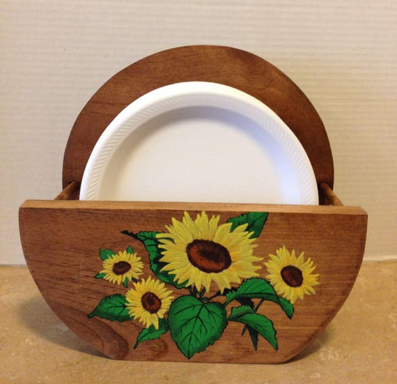 Paper Plate Holder, Wooden Plate Holder, Holder for Plates, Sunflower Decor, Sunflowers, Sunflower Kitchen, Country Decor, Hand painted