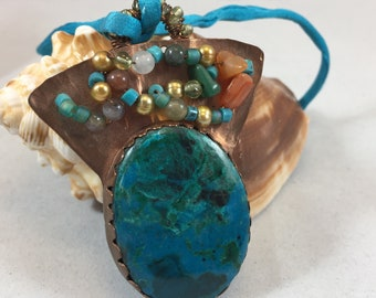 Necklace- Chrysocolla, Copper, Beads