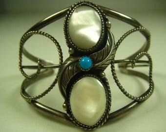 Vintage Southwest Sterling Silver/Moonstone/Turquoise Cuff Bracelet