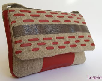 Shoulder bag in natural linen, red leather and grey leather