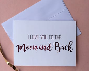 """Pink Foil """"I Love You To The Moon And Back"""" Greeting Card"""