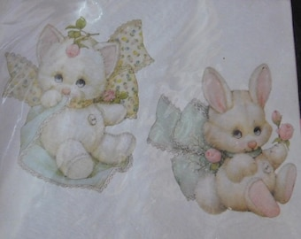 Dimensions 1995 Snuggle Bunny & Kitten Rabbit Kitty Baby Babies Flower Floral Iron-On Transfer New/Old in Package