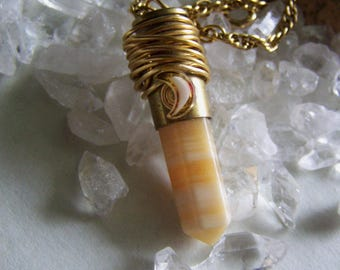 Butterscotch Banded Agate Wire Wrapped Brass Bullet Jewelry Pendant